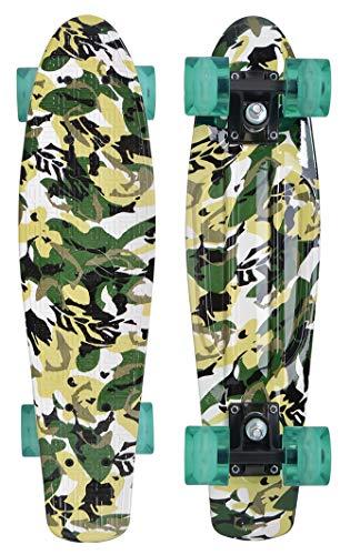 Schildkröt Unisex – Erwachsene Retro Skateboard Free Spirit, Premium Beach Board mit coolem Deckdesign, leuchtende LED Rollen, Design: Camouflage, 510781, One Size