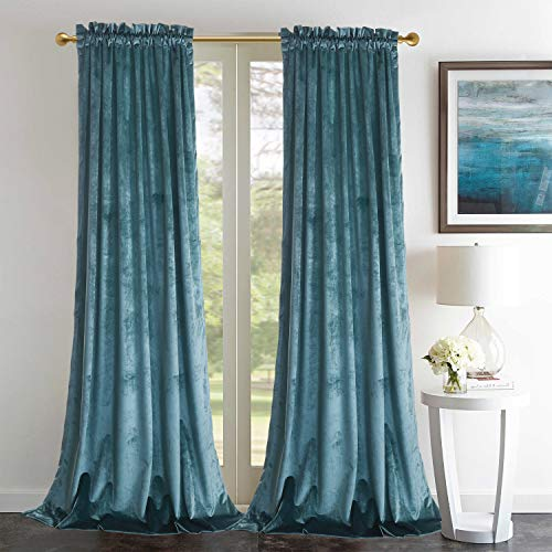 "Roslynwood Block Velvet Dusty Green Curtains - Elegant Interior Decoration Large Window Blackout Velvet Drapes for Living Room, 52"" W x 96"" L, Rod Pocket, Van Deusen Blue"