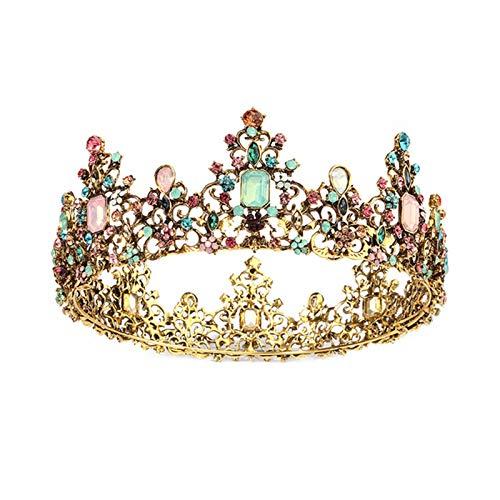 NLEI Crown Vintage Round Full Size Tiara Retro Headband Crystal Rhinestone Beads Hair Jewelry Decor for Queen Women Ladies Girls Bridal Bride Princess Birthday Wedding Pageant Party,Color