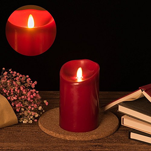 Acando LedCandleBattery Operated Flameless Candles 5 Inch Tall X 3.5' Dia Red Real Wax Led Candles LedTealightCandleswithRemote Moving Flame Candle DecorCandlesforTable GiftCandle