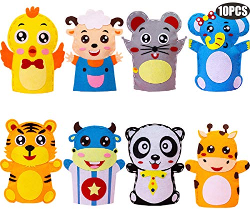 liuer 10PCS Kits de Costura para Niños Actividades Creativas Kits de No Tejido Tela Artesanal Bricolaje Set de Costura Marionetas de Mano