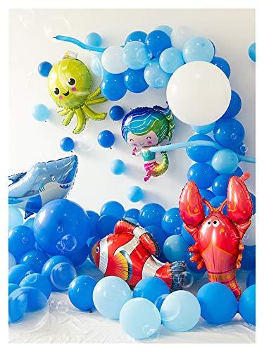 JSJJAES Globos Océano Animal Globo Guirnalda Azul mar Princesa Sirena balonc Baby niña 1ra cumpleaños Fiesta Globos niños Azul Ballon (Color : Set E)