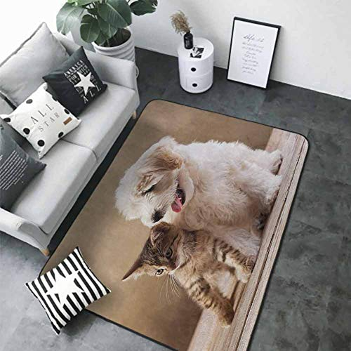 """Anti-Slip Coffee Table Floor Mats Animal,Cute Baby Cat Kitten and Puppy Dog Best Friends Image Photo Artwork,Sand Brown Cream and White 64""""x 96"""" Small Rugs"""