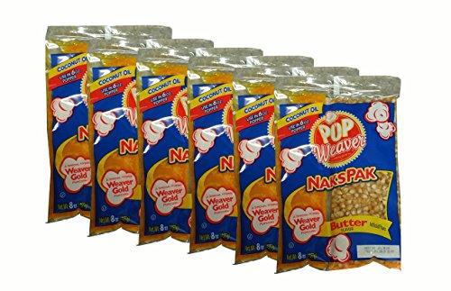 Pop Weaver Naks Pak 8 OZ Butter Flavored Coconut Oil and Popcorn Packs for 6 oz Popper Popping Machine- 6 PACK