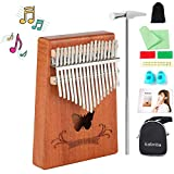 Wooden Mahogany Large Kalimba Thumb Piano Finger Piano 17 key with Book for Kids Adults Beginners Christmas Father's Day Thanksgiving Day Halloween Anniversary Birthday Gifts