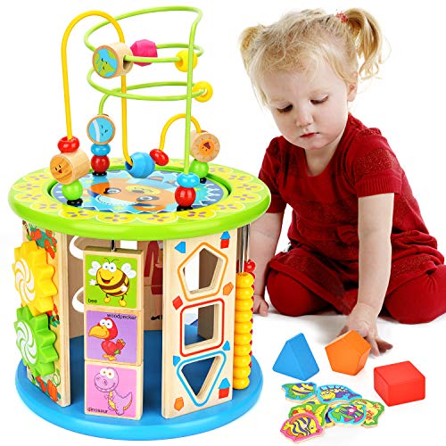 BATTOP 10-in-1 Activity Cube Learning Toys Wooden Baby Activity Blocks Bead Maze Educational Toys for Kids Multi Play Activity Center Toys Boys Girls (Large-Size)