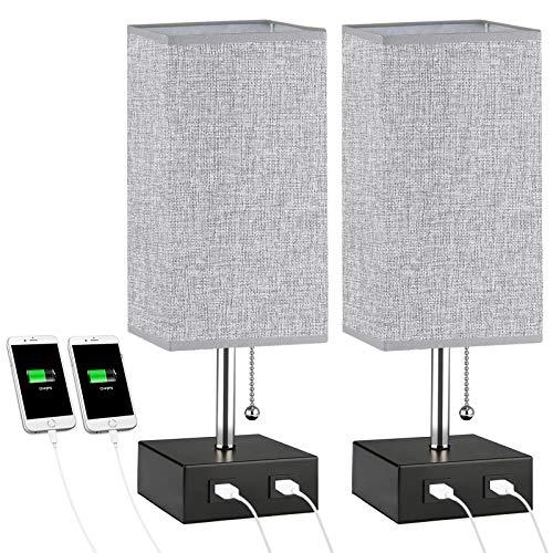 Nachttischlampe 2-er Set, Lovebay Tischlampe für Schlafzimmer, LED Stehlampe Tischleuchte mit Stoff Lampenschirm und 2 USB Schnellladung, Schöne Nachtlicht für Schlafzimmer, Wohnzimmer (Grau)