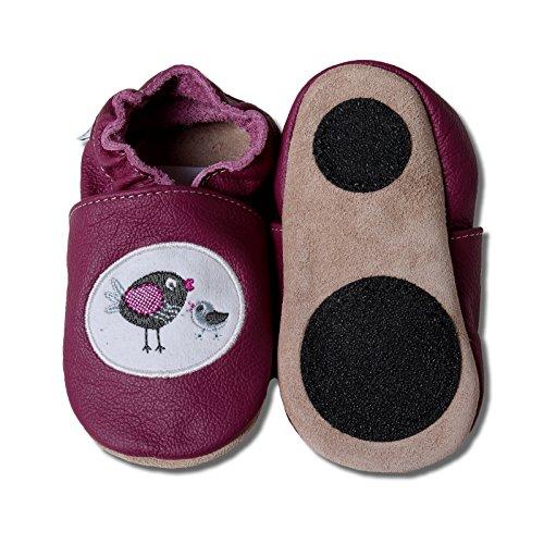 HOBEA-Germany Trotteur motif animal avec semelle antidérapante, chaussons enfant filles et garçons, chaussures bébé en cuir, pointure:26/27 (30-36 Monate), Chaussures modèle: famille d'oiseaux