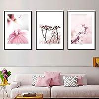 キャンバス絵画ミニマリスト咲く花の壁アートプリントとポスターリビングルームの家の装飾のための北欧の装飾的な写真-40x50cmx3フレームなし