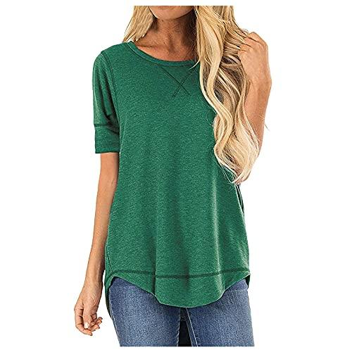 VEMOW Camisetas Manga Corta Mujer Blusas y Camisas Verano Última Moda con Cuello en V Plisada de Tops Sólidos Casuales Camisetas Tirantes con Botones Suelto Fiesta Tallas Grandes(B Verde,XXL)