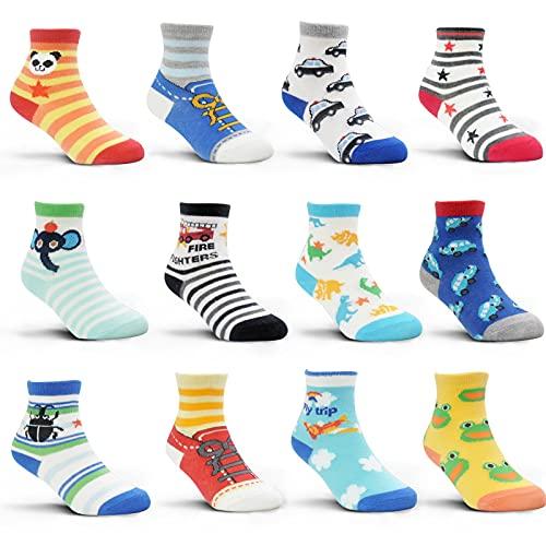 HYCLES Baby socken - 12 Paar Anti Rutsch Socken Kind ABS Socken Kinder Stoppersocken Kinder für 1-3 Jahre Baby Jungen Mädchen Kinder Kleinkind01 Cartoon-Stil (12 Paare)