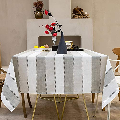 Carvapet Manteles Rectangular Repelente al Agua Manteles Algodón Lino Mantel Manteles para Cocina Comedor Mesa Buffet Mantel de la Tabla (Raya Gris, 140x220CM)