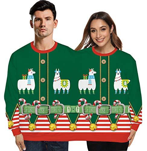 Jersey Doble Navidad Sudadera Navidad Divertida Unisex Hombre Mujer 3D Estampado Sudaderas Navideñas Suéter Navideño Feo Sudadera Navideña Jerséis Reno Jerseys Navideños Parejas Ancha Larga Verde