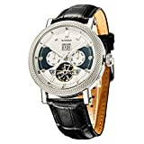 SURVAN Swiss Automatic Watch for Men Sapphire Crystal Mechanical Skeleton Wrist Watch 18k Yellow Gold Ion-Plated Leather Strap Silver