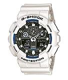 Casio G-SHOCK Reloj Analógico-Digital, 20 BAR, Blanco, para Hombre, con Correa de , GA-100B-7AER