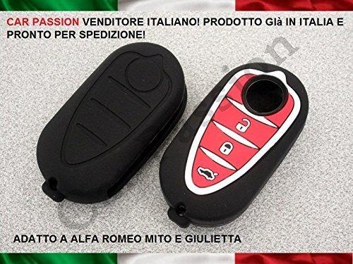 car passion guscio-Nero-Rosso Coquille clé Coque Alfa Romeo Mito Giulietta en Silicone Caoutchouc 3 Touches, Noire