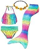 iLyberkiok Cola de Sirena 4 Piezas Trajes de Baño para Niñas Bikini de Natación Traje de Baño Regalo de Cumpleaños de Niña 3-12 años (sin monoaleta) (DH102+Y, 3-4 años, 3_Years)