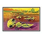 IUYTRF Alien Ant Ilustración de ciencia ficción francesa Habitación de los niños Arte de la vendimia...