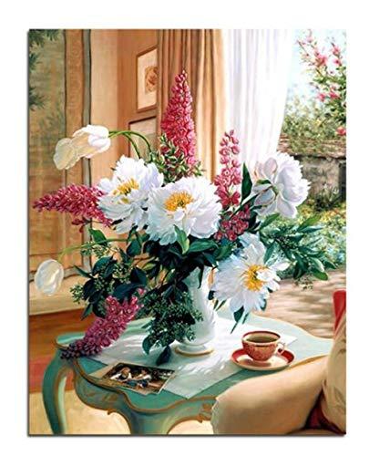 ARTEZXX DIY olieverf door cijfers Kits - salontafel witte bloemen Canvas olieverfschilderij voor volwassenen en tekenen Beginner met borstels - 16x20 inch zonder frame