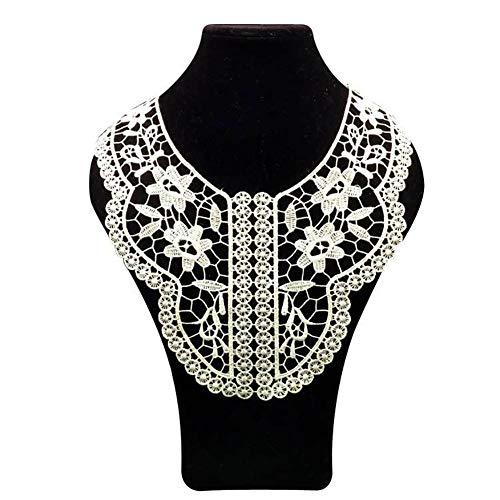 Bordado hueco flor encaje cuello cuello ajuste ropa costura apliques - blanco collectsound