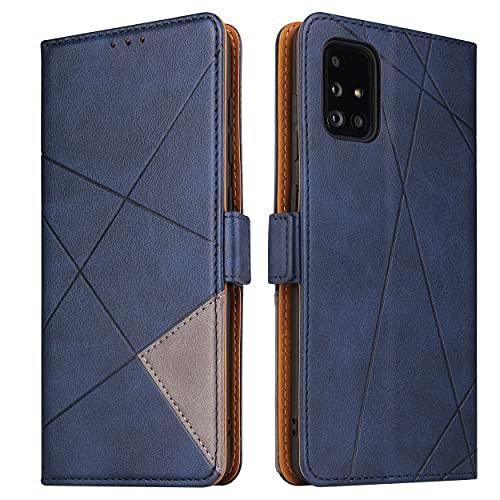 BININIBI Handyhülle für Samsung M51 Hülle, Galaxy M51 Lederhülle Handytasche, Klapphülle Tasche Leder Schutzhülle für Samsung Galalxy M51, Blau