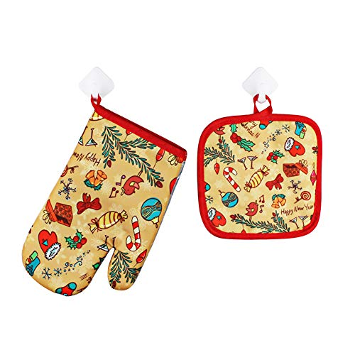 WanBeauty 1 guante de horno resistente al calor + 1 alfombrilla anticalor para cocina, decoración de Navidad, herramienta de hornear para barbacoa, cocina, hornear, parrilla, microondas, barbacoa 4