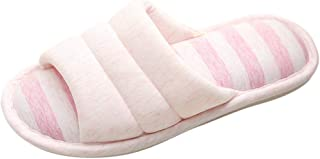 Fankle Women's Mens Unisex Washable Cotton Open-Toe Home Slippers Indoor Shoes Comfy Velvet Lined Memory Foam Indoor Shoes