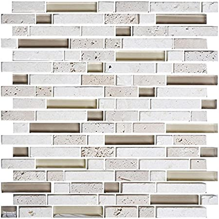 Lot of 5 Sheets HYH 8mm Thickness Electroplated Glass Mesh-mounted Mosaic Tile Sheet for Kitchen Backsplash Bathroom Wall and Swimming Pool 12 In X 12 In. D0434B1