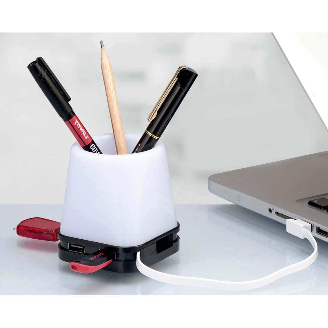 Present Mart Desk Organizer 4 in 1 Pen Stand Tumbler with USB Hub, Lamp and Mobile Stand (Adjustable Lamp Light)...