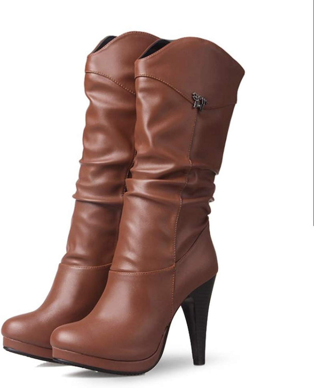 SENERY Women Winter Mid Calf Boots,Water Proof High Heel Boots Round Toe Heels Half Short Snow Booties