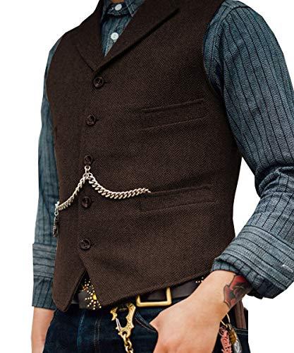 Lovee Tux Herringbone Weste Formale Business Notch Revers Männer Anzug Weste Wolle/Tweed Weste für Hochzeit(XS,Kaffee)