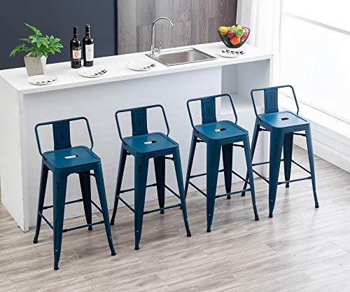 30' Metal Bar Stools Industrial Barstools Counter Height Stools for Indoor/Outdoor Barstools [Set of 4] (30', Low Back Distressed Navy)