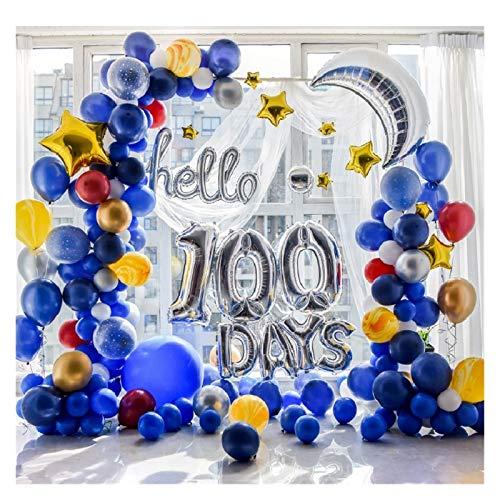 JSJJAUA Globos 1set Sky Space Star Star Theme Hello 100 Days Baby Shower 100th Day Fiesta de cumpleaños Celebración Globo Guirnalda Decoración (Color : Hello 100 Days)
