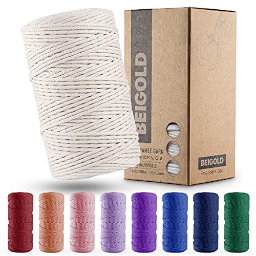 BEIGOLD® Premium Makramee Garn Natur - 100% Baumwolle für wunderschöne Naturoptik - 3mm x 200m . Baumwollgarn für Makramee Kunst DIY Handwerk