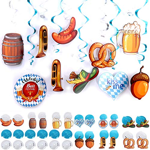 30Pcs Party Swirl Hanging Decorations for Oktoberfest Theme Birthday Party Wedding Christmas Supplies