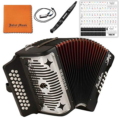 Hohner Panther G/C/F 3-Row Diatonic Accordion 3100GB - Black Bundle with Hohner Strap, Mini Harmonica, Juliet Music Polish Cloth & Piano Key Stickers