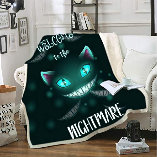 Pmhhc sofa-kussen, yogamat, picknickdeken, dik, dubbele laag van pluche, Anime Pet kat 3D digitale print, draagdeken