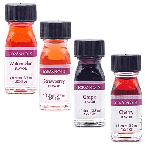 LorAnn SS Fruity Flavors in 1 dram bottles (.0125 fl oz - 3.7ml), Watermelon, Grape, Cherry, and Strawberry