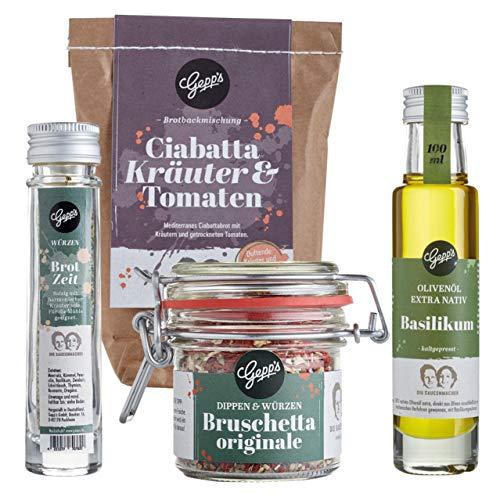 Gepp's Feinkost Brotzeit Paket | Geschenkset bestehend aus Ciabatta Brotbackmischung, Olivenöl mit Basilikum, Bruschetta Gewürzmischung und Brotzeit Gewürz I Italienisches Bruschetta Set I Vegan