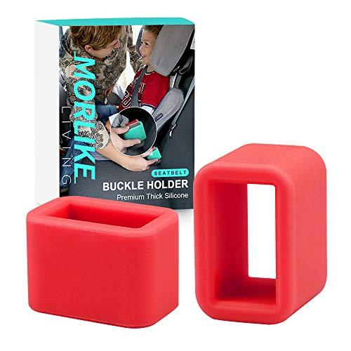 Morlike Silicone Belt Buckle Seatbelt Holder (RED)