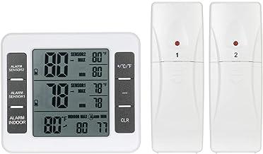 Lcd Digitale Thermometer Temperatuur Meter Binnen Buiten Weerstation + Draadloze Zender Met C/F Max Min Waarde Display