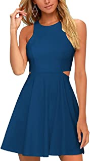 BELONGSCI Women Sweet and Cute Sleeveless Racerback Flared Swing A-Line Waist Hollow Out Summer Short Dress