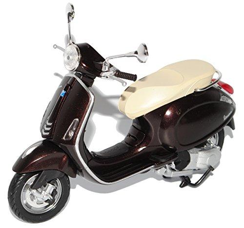 New Ray Vespa Piaggio Primavera Schwarz Braun Ab 2013 1/12 Modell Motorrad mit individiuellem Wunschkennzeichen