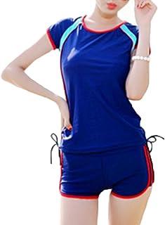 (Bidasu)6色 フィットネス用水着 水着通販 2点セット スポーツタイプ 運動型 体型カバー 水陸両用 ヨガ 水着 レディース タンキニ 大きいサイズ A2
