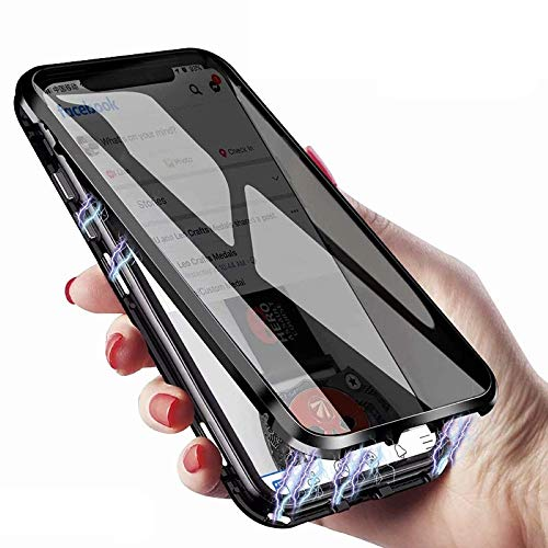 Anti-Peeping Magnetic Double Side Glass Case For iPhone 8 Plus iPhone 7 Plus Screen Protector Privacy Tempered Glass Metal Bumper Cover (Silver, iPhone8Plus/7Plus)