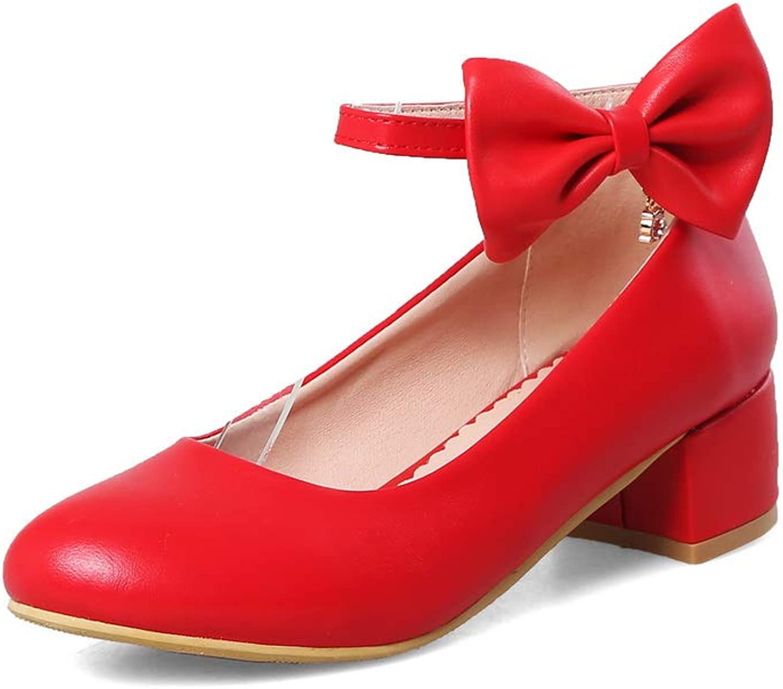BalaMasa Womens Bows Solid Casual Urethane Pumps shoes APL10488