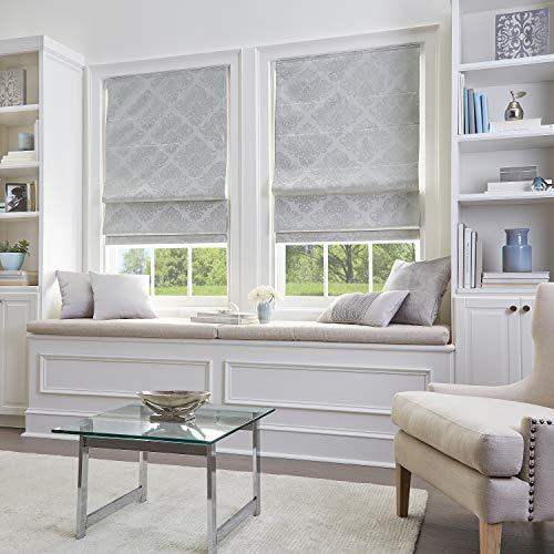 Curtainworks Damask Window Shade, 39' W x 64' L, Silver