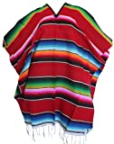 Del Mex (TM Mexican Serape Adult Poncho Red