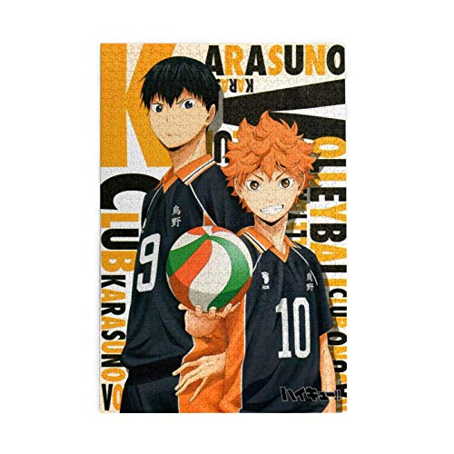 Cool Anime Haikyu! Passionate Volleyball Cartoon Wooden Jigsaw Puzzles Hd Printed Cartoon Patchwork Pattern Funny Family Game Toy for Adults,Kids,Teens (1000 Pcs)