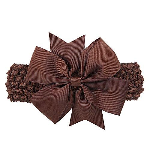 POIUDE Bandeau BéBé Fille, Nouvelle Mode Filles Big Bow Bande de Cheveux Accessoires pour TêTe D'Enveloppe de BéBé( café,Taille Unique)